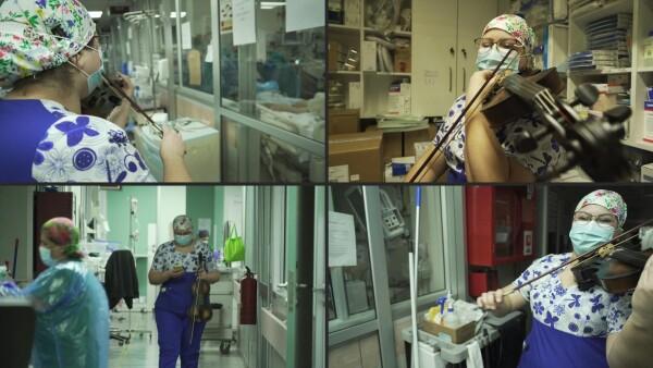 Una enfermera violinista da notas de aliento a pacientes COVID-19