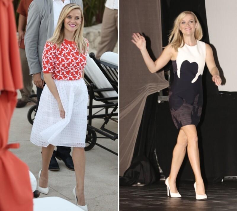 Reese se dejó ver con dos outfits diferentes; uno súper colorido por la tarde y el otro monocromático.