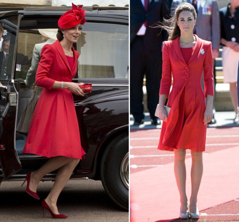 The princess in red! La esposa del príncipe William una vez más optó por reciclar un outfit que ya llevaba poco más de un lustro guardado y con el cual, una vez más, logró verse impactante.