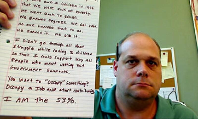 El grupo de 'los 53%' niega ser representado por las exigencias de los Indignados. (Foto: Cortesía CNNMoney)