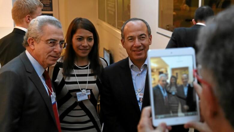 Los ex presidentes Ernesto Zedillo y Felipe Calderón son fotografiados durante su asistencia a Davos, en el marco de la reunión de 2013.