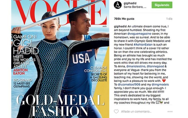 La modelo posteó en su instagram la imagen de la portada.