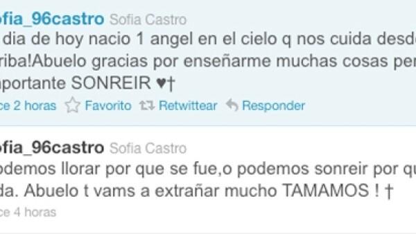 Sofía Castro, hija de la actriz y del productor José Alberto Castro, recordó en su cuenta de Twitter la manera en que disfrutó el cariño de su abuelo.