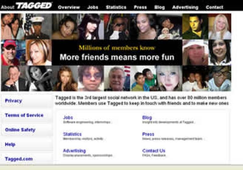 Tagged.com se ha convertido en la tercera red social más popular con 80 millones de usuarios. (Foto: Especial)