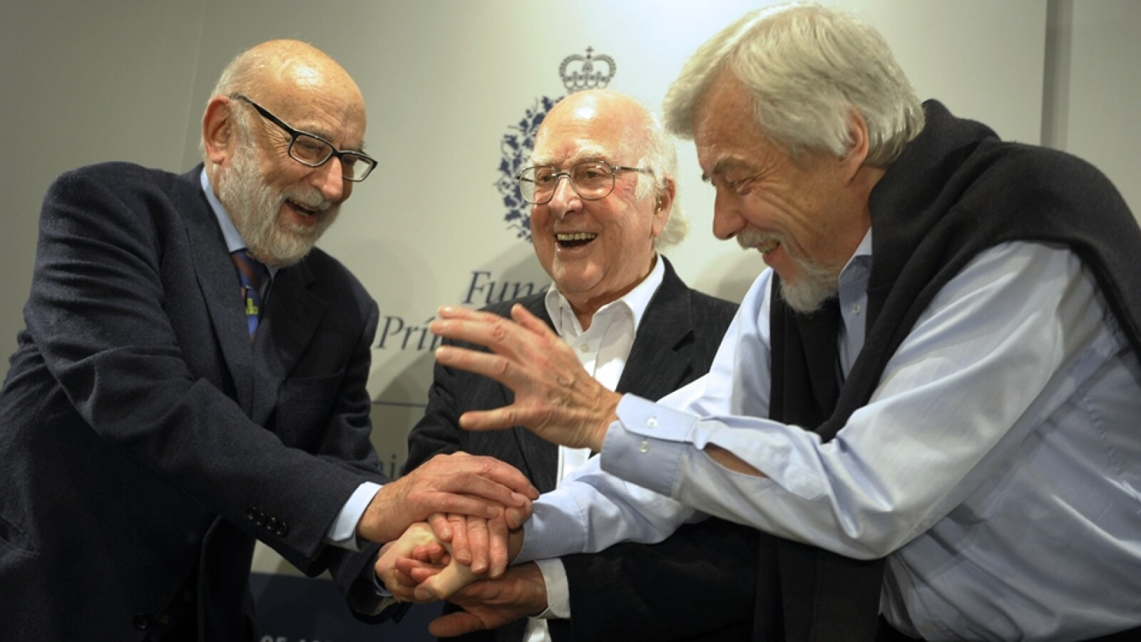 François Englert  Peter Higgs Rolf Heuer director CERN
