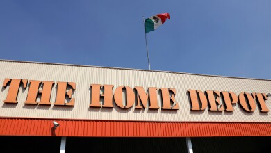 The logo of U.S. home improvement chain Home Depot is seen in Mexico City