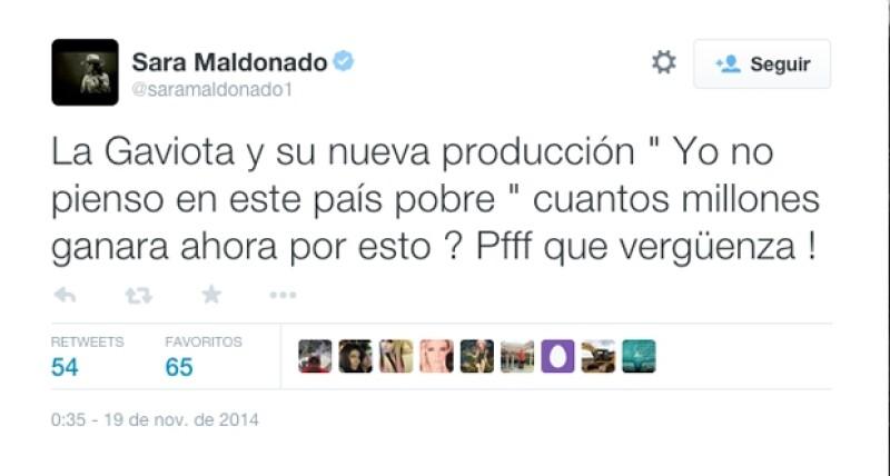La actriz Sara Maldonado se unió a las celebridades que expresaron su sentir ante el mensaje de la primera dama.