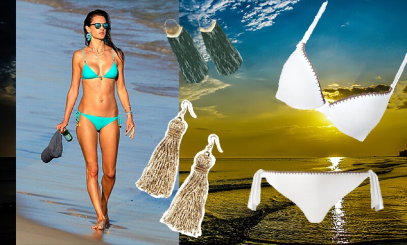 Los trajes de Calzedonia son ideales para combinar con aretes de H&M.
