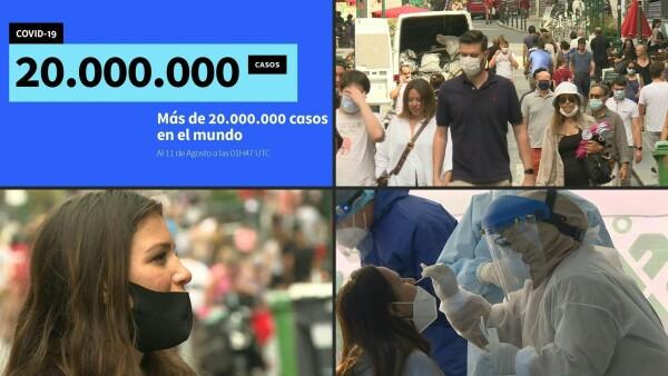 El mundo supera los 20 millones de casos de COVID-19