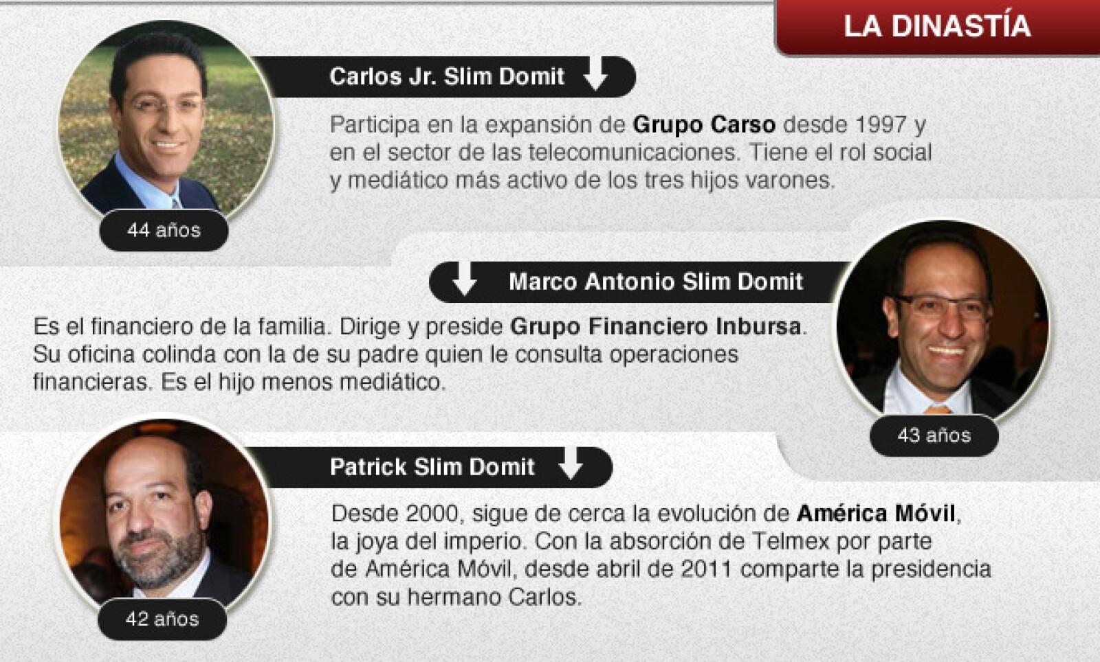 Desde hace 15 años, Carlos Slim Helú ha construido su relevo generacional y ha puesto a la cabeza de sus firmas más importantes a sus tres hijos varones: Carlos, Marco Antonio y Patrick.