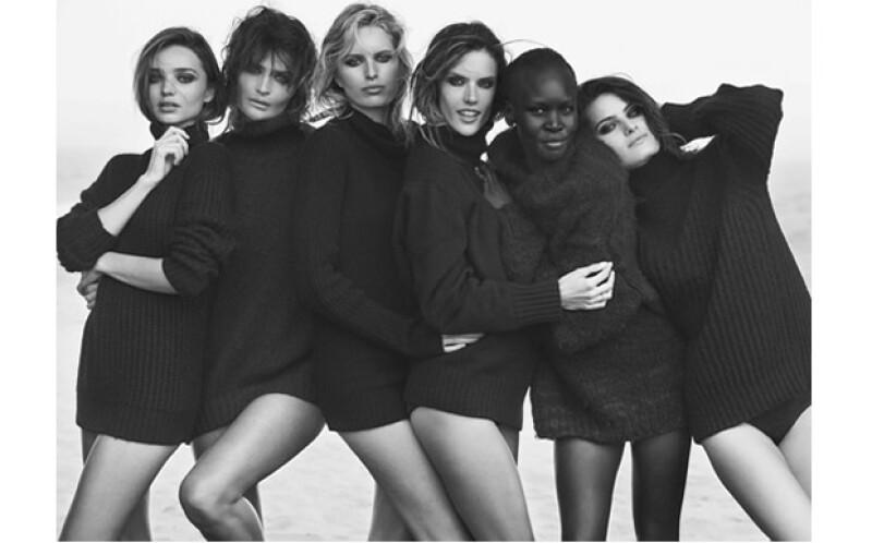 De izquierda a derecha: Miranda Kerr, Helena Christensen, Karolina Kurkova, Alessandra Ambrosio, Alek Wek e Isabeli Fontana.