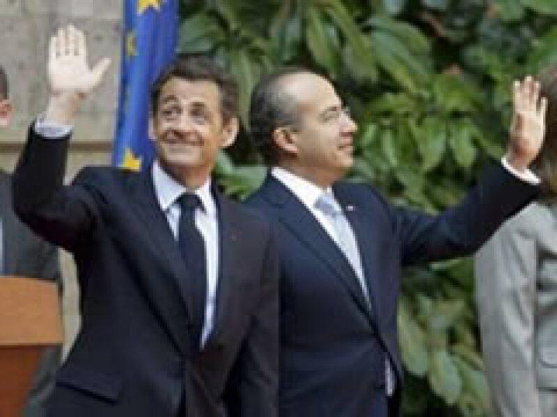 Los mandatarios de México y Francia se reunieron en el Palacio Nacional. (Foto: Reuters)