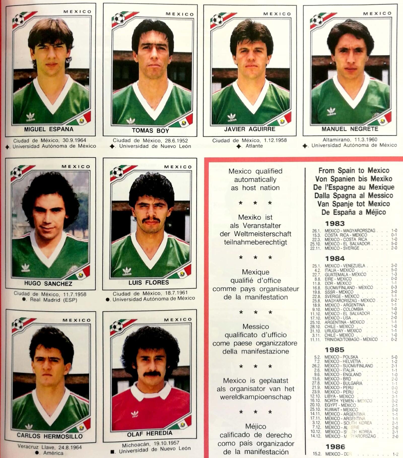 Album Panini México 1986