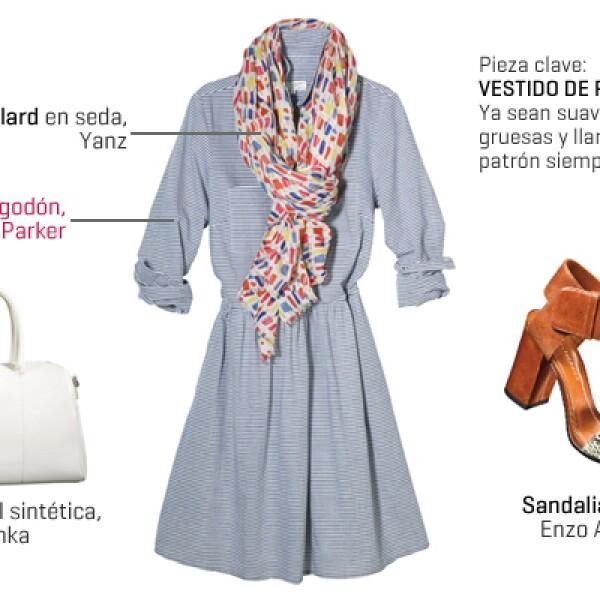 Un vestido de corte camisero es perfecto para cualquier ocasión. Los accesorios blancos no fallan. Contrasta el look con un toque de animal print en los zapatos y un foulard colorido.