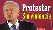 AMLO pide protestar sin violencia en marchas contra violaciones a mujeres