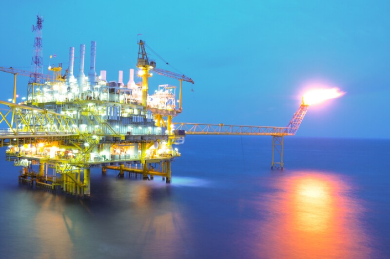 Oil and gas platform on sunrise time