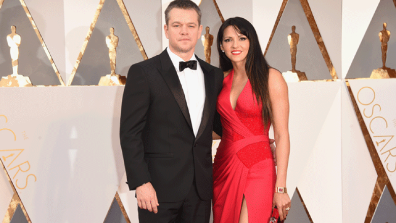Matt Damon y Luciana Barroso (Getty Images)