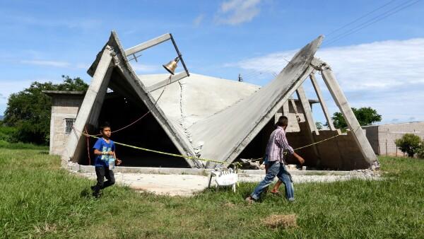 Casas dañadas por sismo en Chiapas