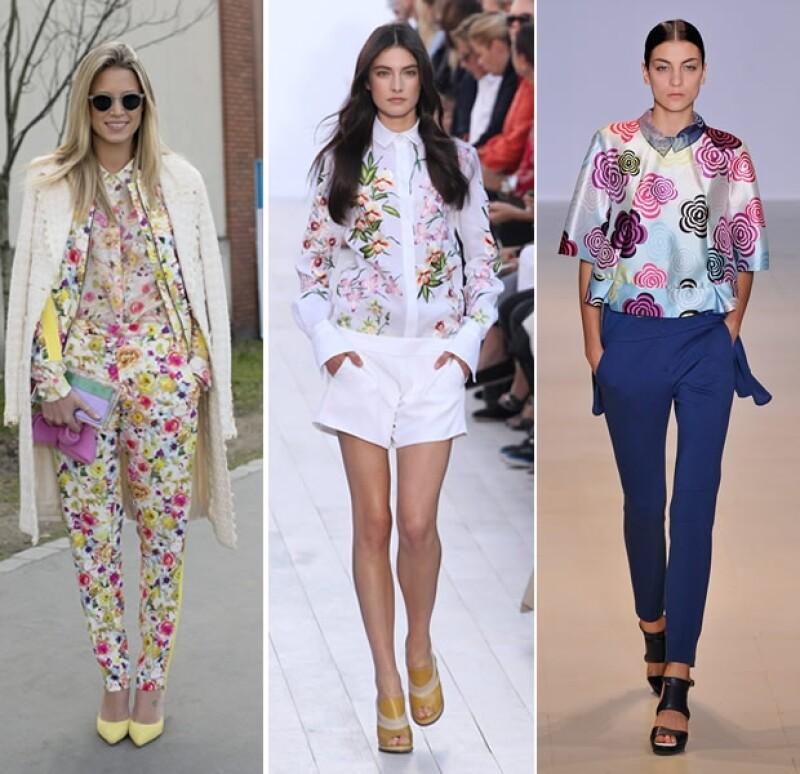 Las blusas florales son la mejor opción para realzar un look sobrio.