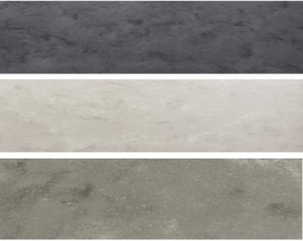 Colores de la Colección Aggregate de Corian® Solid Surface. De arriba hacia abajo: Carbon Aggregate; Neutral Aggregate y Ash Aggregate.