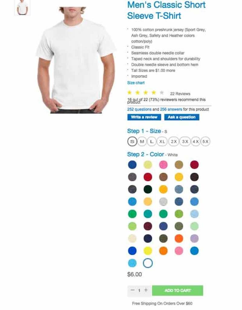 Las tshirts de Guildan las puedes pedir por Internet.
