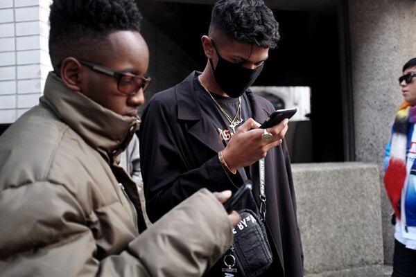 Street Style, Fall Winter 2018, London Fashion Week Men's, UK - 06 Jan 2018