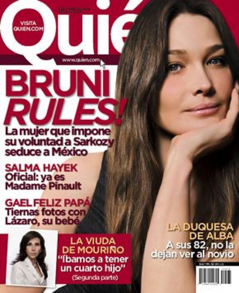 Carla Bruni es la próxima portada de la revista Quién, la cual sale a la venta el 6 de marzo.