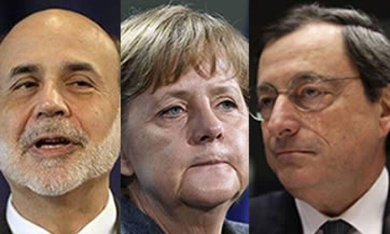 Ben Bernanke, Angela Merkel y Mario Draghi serán de los personajes más importantes en 2012 para los mercados. (Foto: Especial)