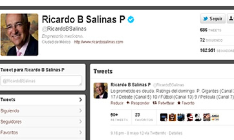 Ricardo Salinas Pliego, dueño de TV Azteca, twitteó los ratings. (Foto tomada de Twitter)