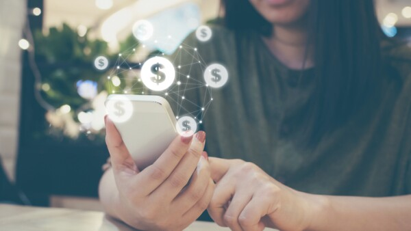 Asian woman hand using mobile phone with online transaction application, Concept ecommerce and internet online investment