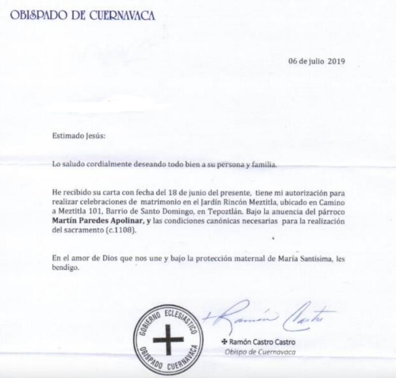 AUTORIZACIÓN OBISPADO CUERNAVACA (Cortesía: Denise Romero Avilés.)
