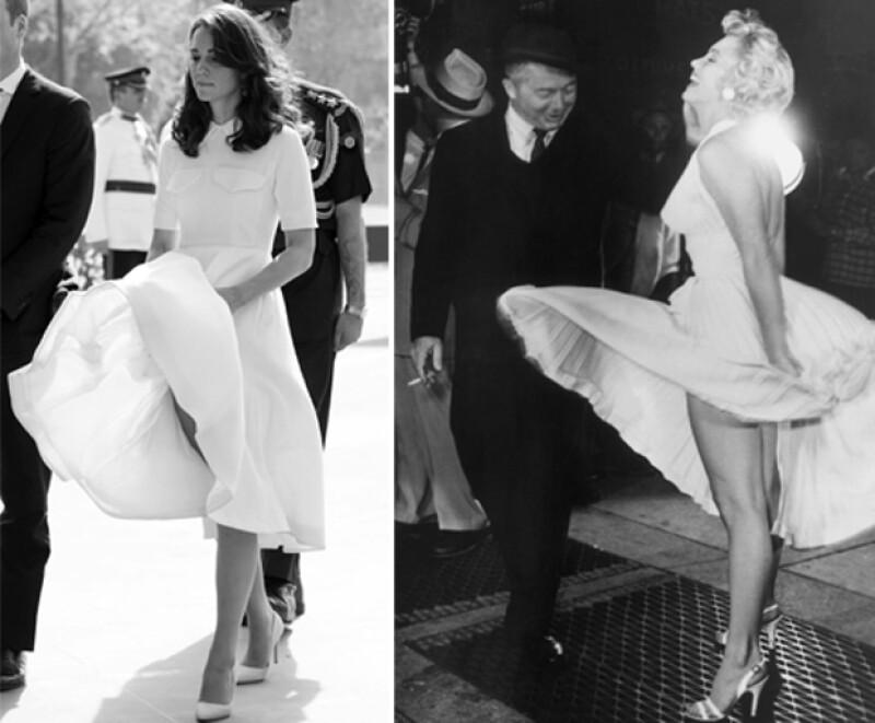 Kate Middleton también sufrió un momento muy parecido a Marilyn, ¿lo observas?