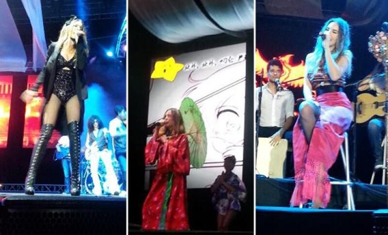 La cantante ofreció un concierto en una feria organizada en el puerto turístico.
