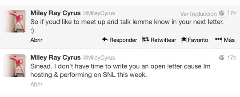 La irlandesa le exigió disculpas por ofenderla a ella y a Amanda Bynes, mientras que Cyrus dijo no tener tiempo de responderle porque está ocupada preparando su próxima presentación en SNL.