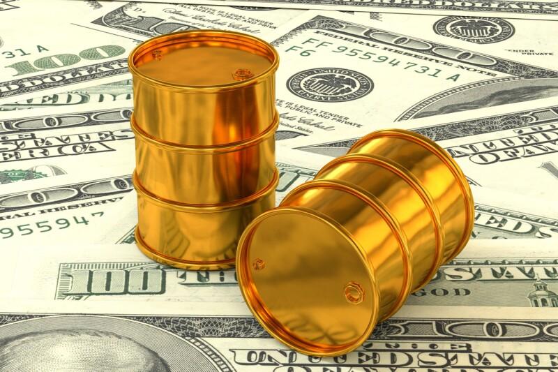 3d illustration: Golden barrels of oil lie on the background of dollar money. Petroleum business, black gold, gasoline production. Purchase sale, auction, stock exchange.