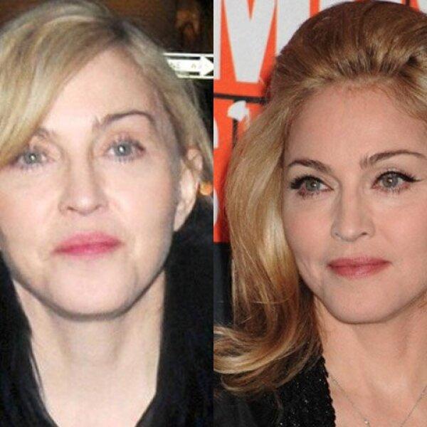 A su edad, Madonna sí requiere de la ayuda de una pintadita, pues sin maquillaje se ve de más de 50.