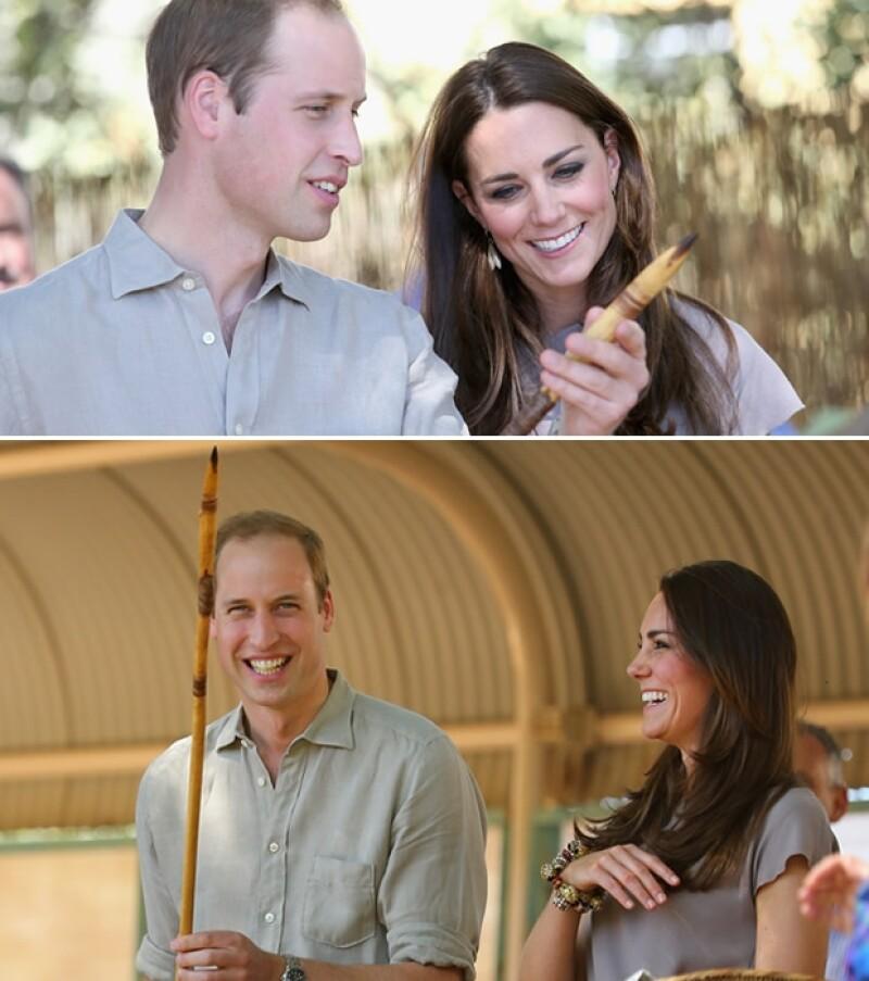 Guillermo y Kate recibieron una lanza de madera entre sus regalos en la Academia Nacional de Formación Indígena Yulara.