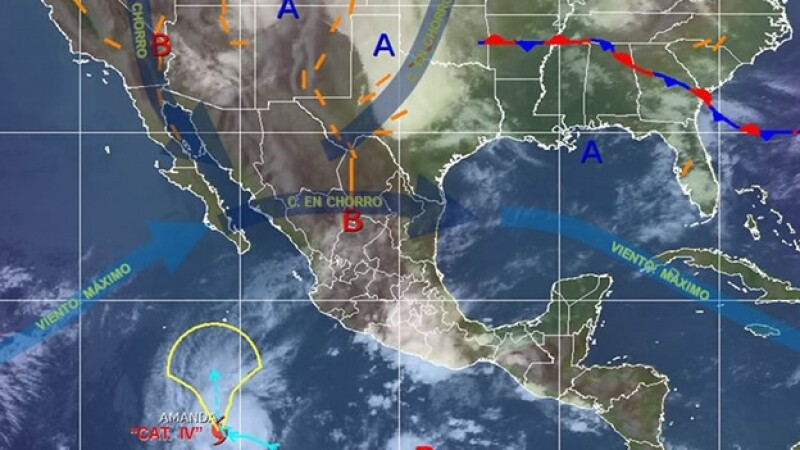 La zona en donde existen condiciones para tormentas eléctricas, granizo y la probable formación de tornados en el norte de Coahuila, Nuevo León y Tamaulipas