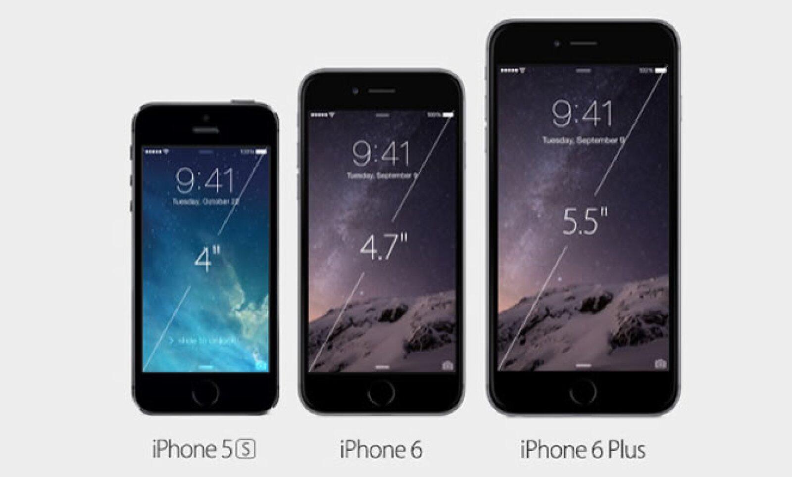 El iPhone seis tiene pantalla de 4.7 pulgadas, y el Plus de 5.5 pulgadas.