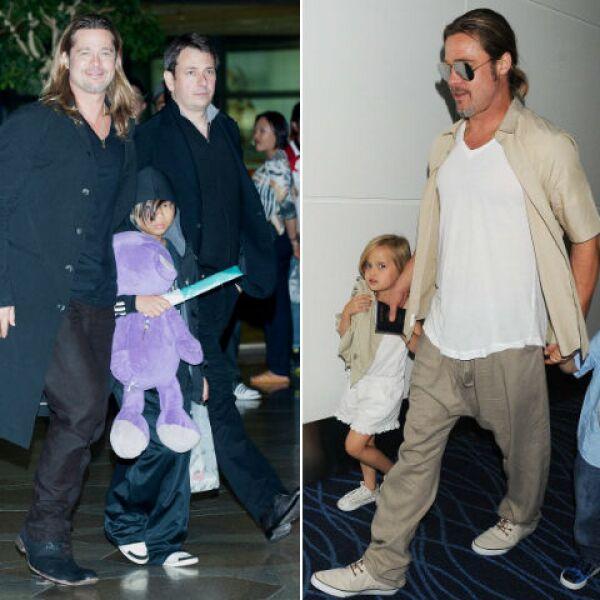 Cuando se trata de aeropuertos, Brad Pitt siempre está al pendiente de cada uno de sus hijos.