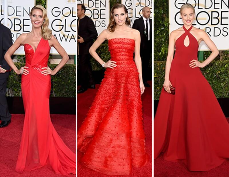Los vestidos en color rojo fueron de los más vistos.