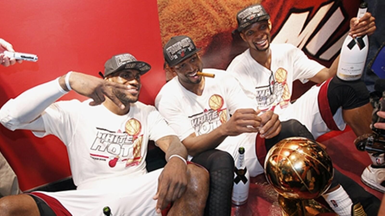 LeBron James, Dwayne Wade y Chris Bosh final NBA