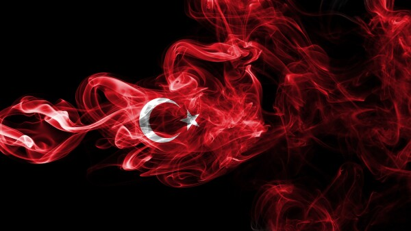 Turkey flag smoke