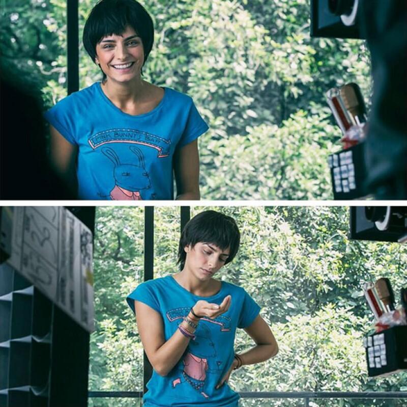 La actriz en el rodaje de la película Qué pena tu vida.
