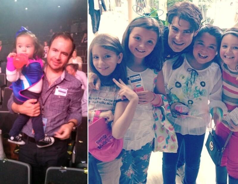 Izquierda: César Nava y su hija Inés. Derecha: Alex Sirvent y algunas asistentes.