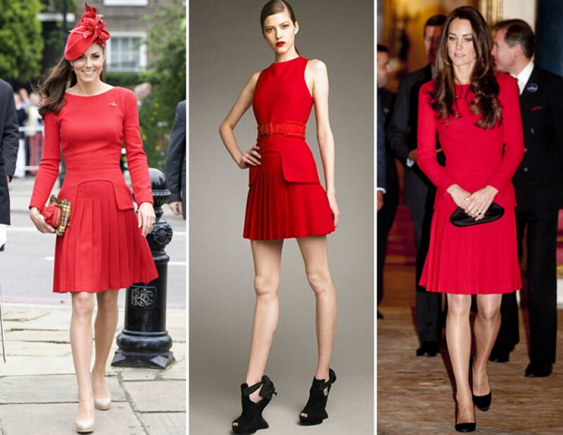 Kate Middleton repitió el vestido rojo de la colección Pre-Fall 2011 de Alexander McQueen en 2012 y 2014.