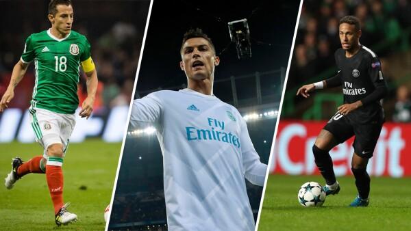 Andrés Guardado, Cristiano Ronaldo y Neymar Jr.
