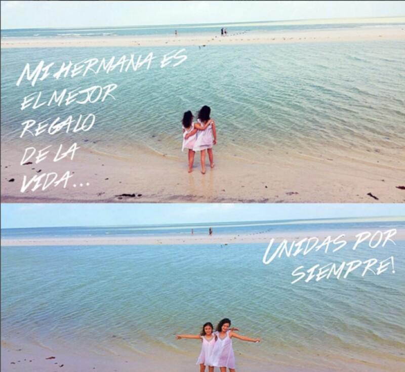 Mía y Nina disfrutando del mar Caribe.