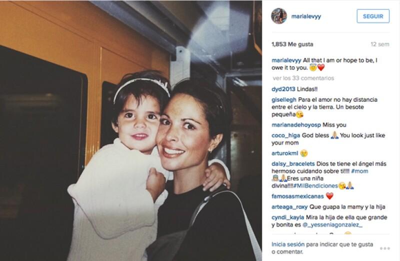 María y su mamá en una foto compartida en Instagram por María. `Todo lo que soy y espero ser te lo debo a ti´, escribió.