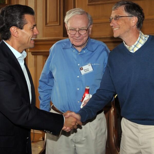 Peña Nieto se reunió con los empresarios Bill Gates y Warren Buffett, luego de su participación en la conferencia empresarial de Sun Valley.